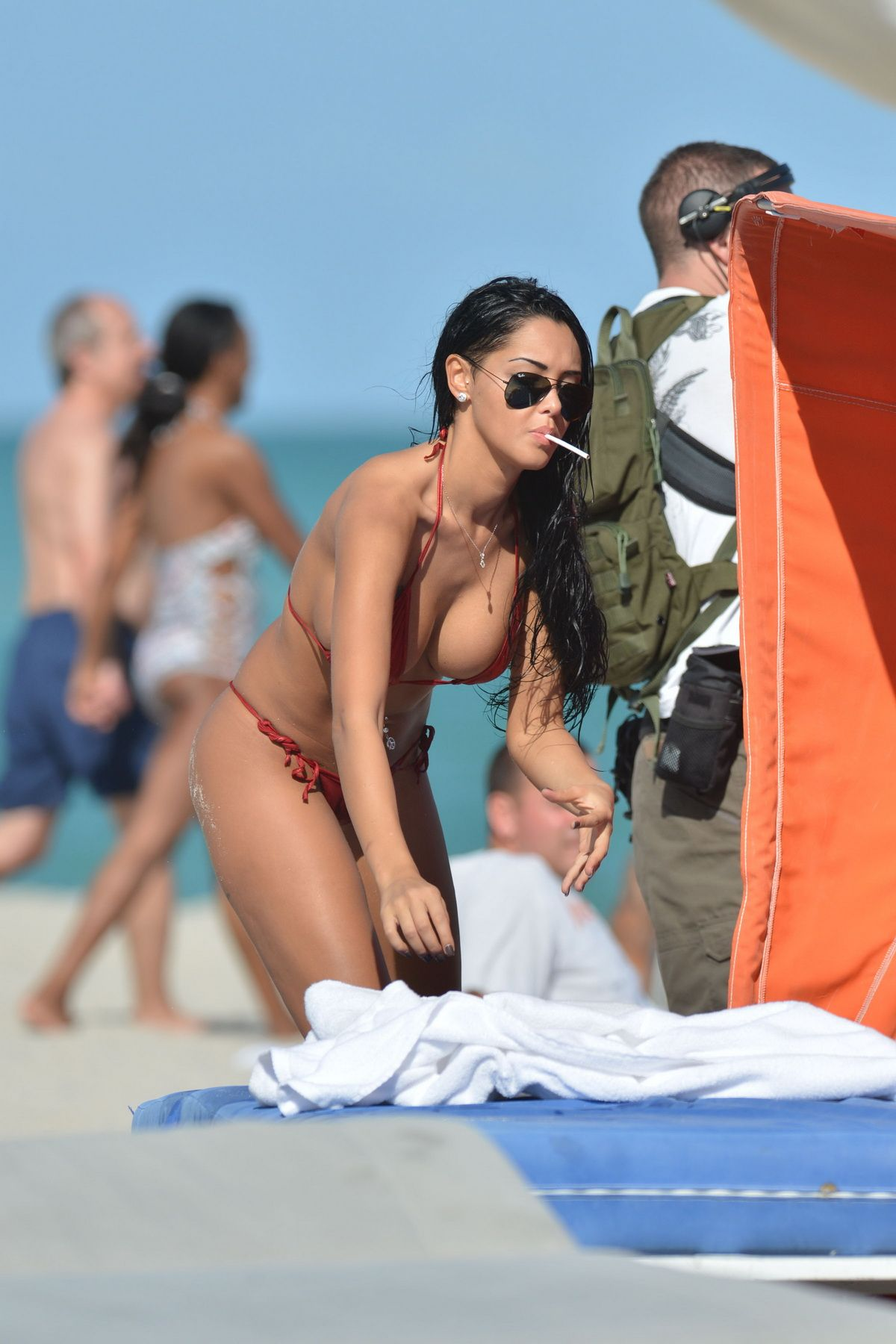 Nabilla Benattia - Seen on the beach filming a dating reality show, Miami  Beach