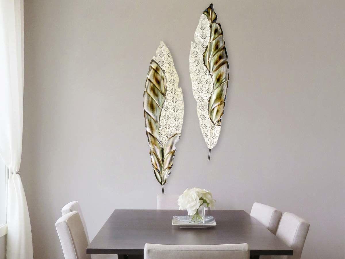 formano wandddeko blatter 2er set aus metall 79 90 wand wanddekoration wohnzimmer wandbilder wayfair wanddeko bastelideen
