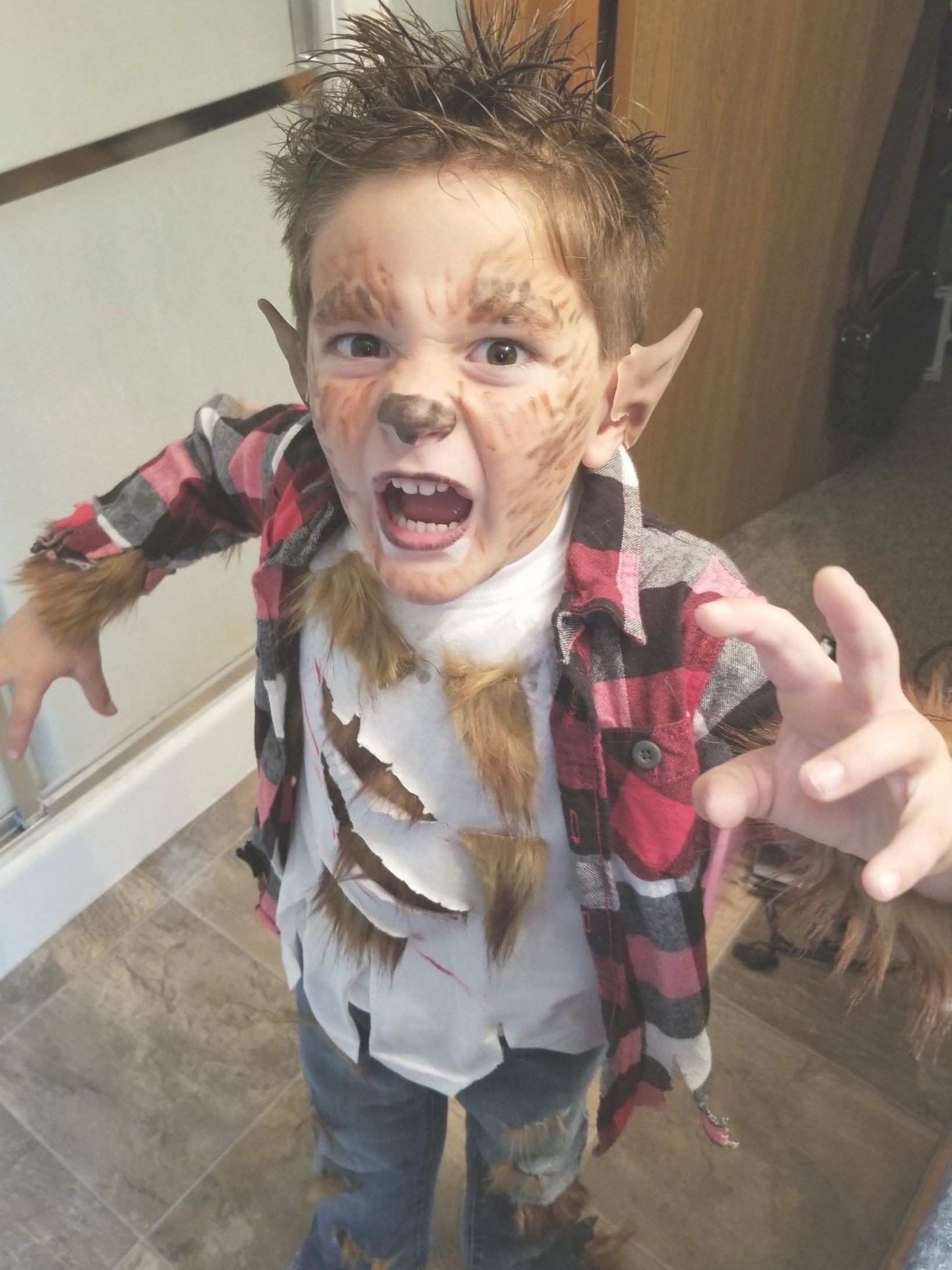 Kids homemade werewolf halloween costume halloween