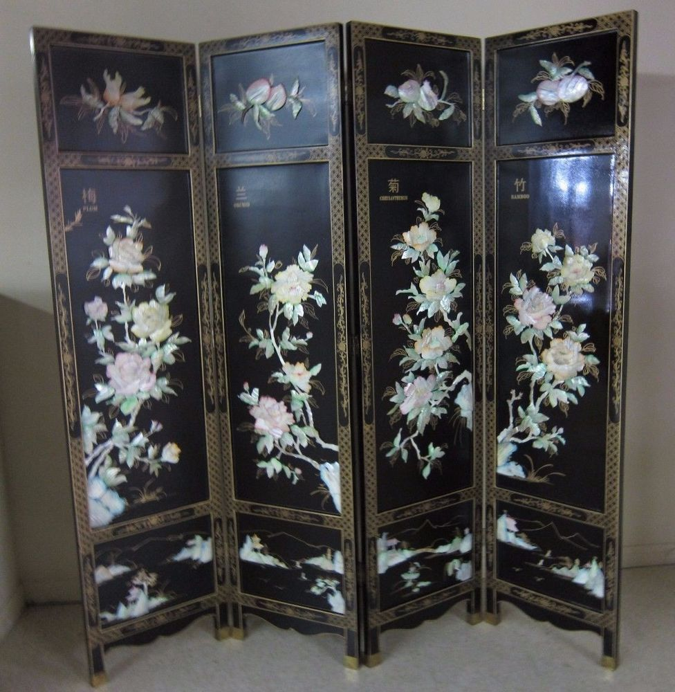 Screen Room Divider Chinese Hand Crafed Mother Of Pearl Room