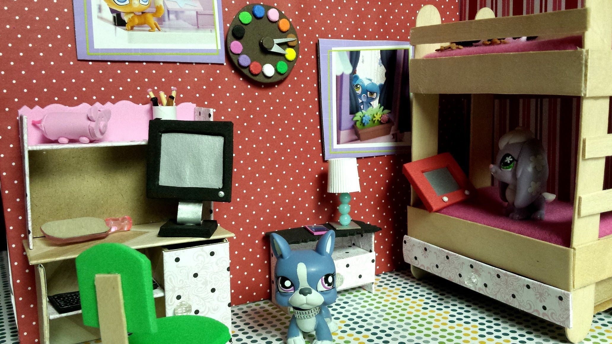 How to Make a Tiny Wall Clock for a LPS Bedroom Easy LPS Doll DIY