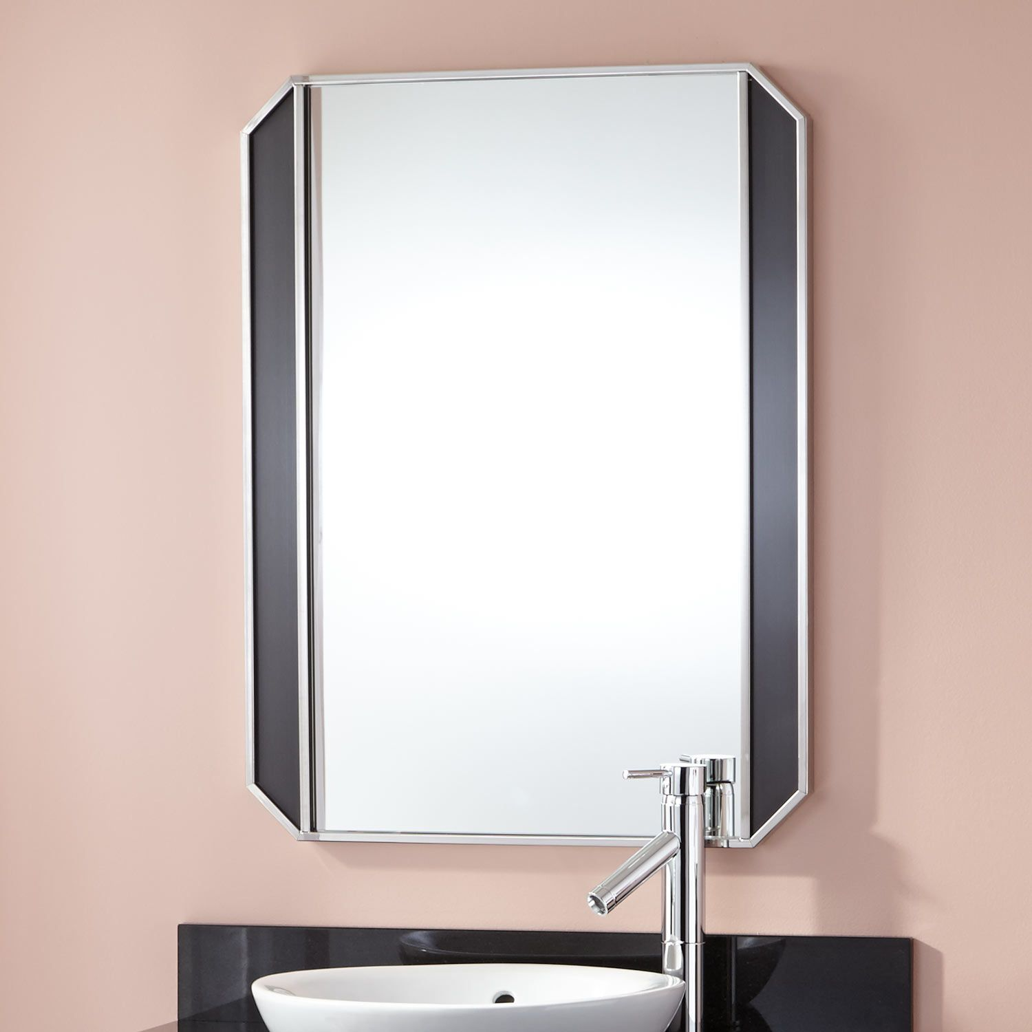 """24"""" Mariano Stainless Steel Mirror - Black"""