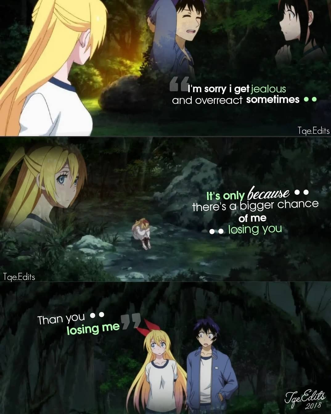 I Am Sorry I Get Jealous Even Though You Don T Belong To Me Anime Love Quotes Anime Quotes Nisekoi