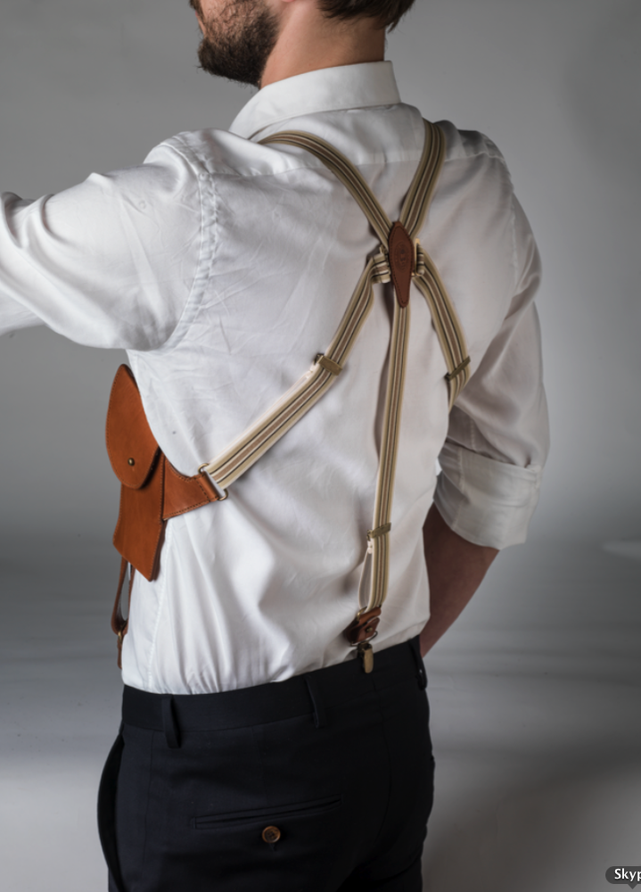 Image of BRACES WITH POCKETS : COGNAC LEATHER WITH LIGHT FABRIC