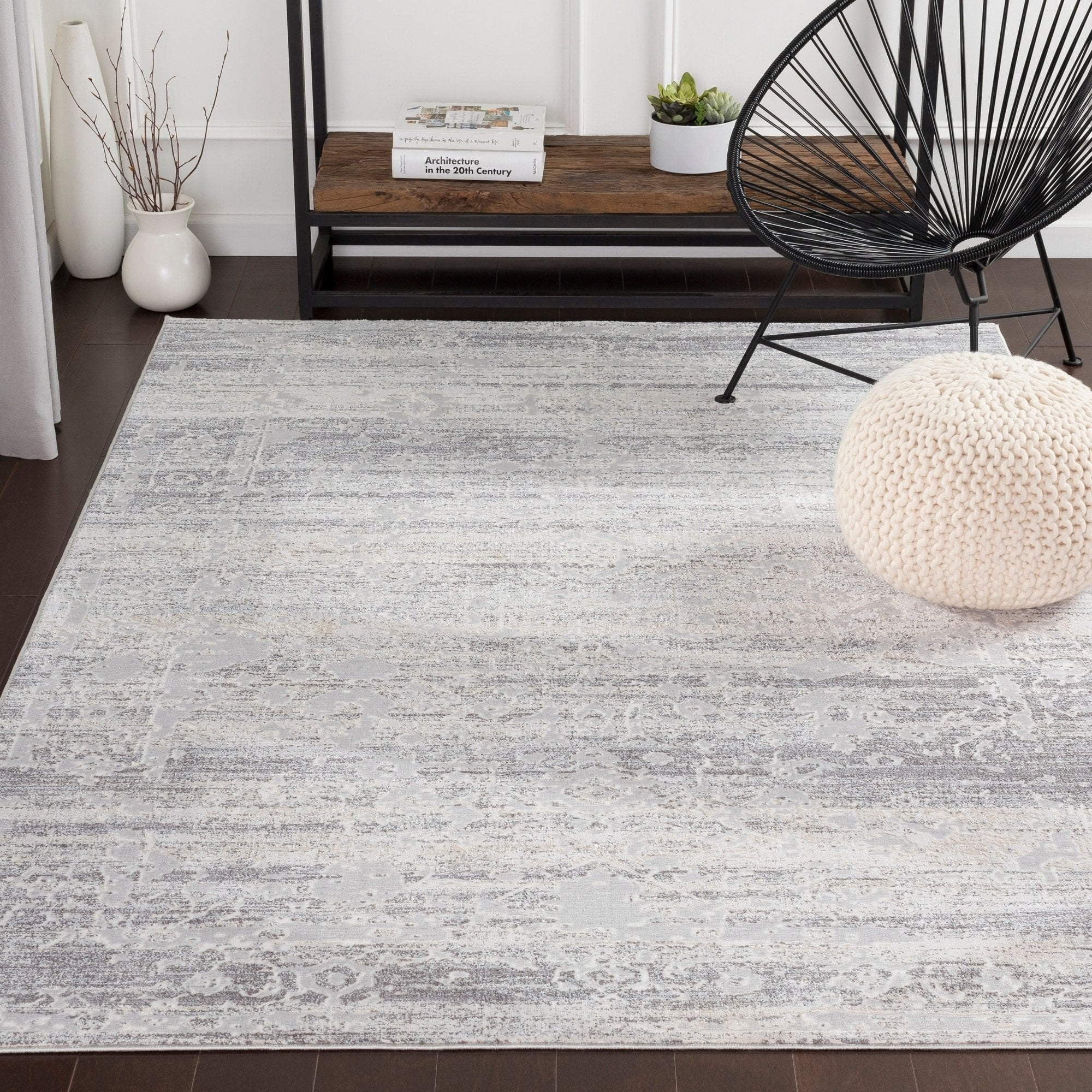 Rachana Distressed Traditional Silver Grey Area Rug 7 10 X 10 3 7 10 X 10 3 Silver Gray Rugs Area Rugs White Area Rug