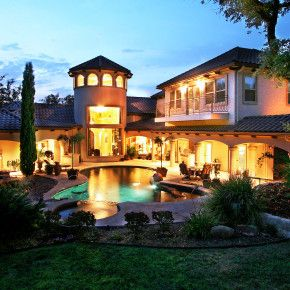 Lake Travis Outdoor Evening Custom Spanish Style Home Exterior