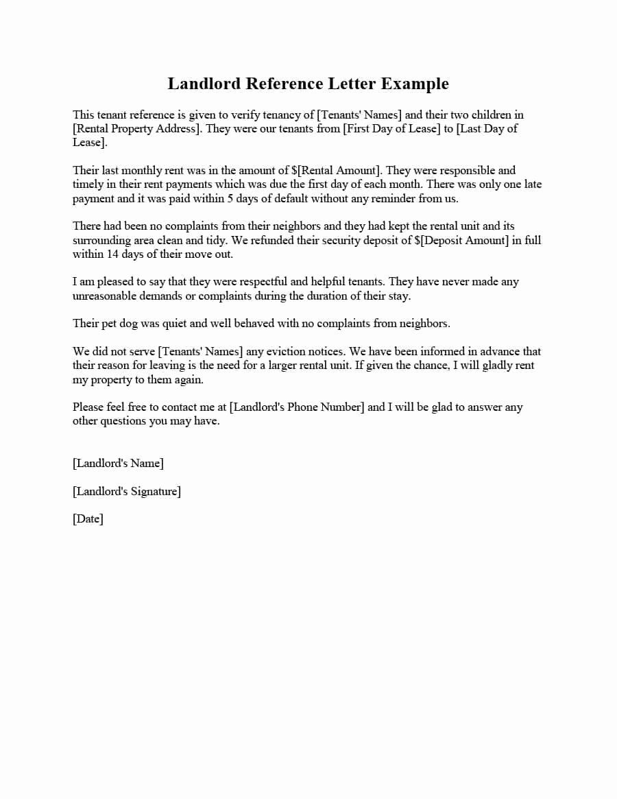 Landlord Reference Letter Template Awesome 40 Landlord