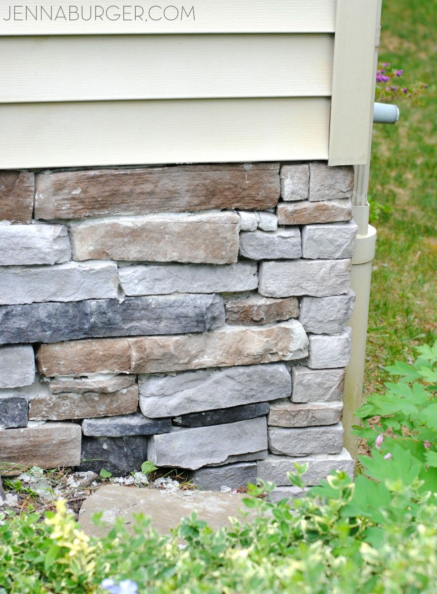 Diy tutorial for adding a stone veneer to a concrete for Concrete exterior walls