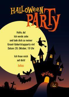 Lustige, Gruselige Einladungskarte Zur Halloween Motto Party Zum  Kindergeburtstag Mit Mond, Gruselschloss