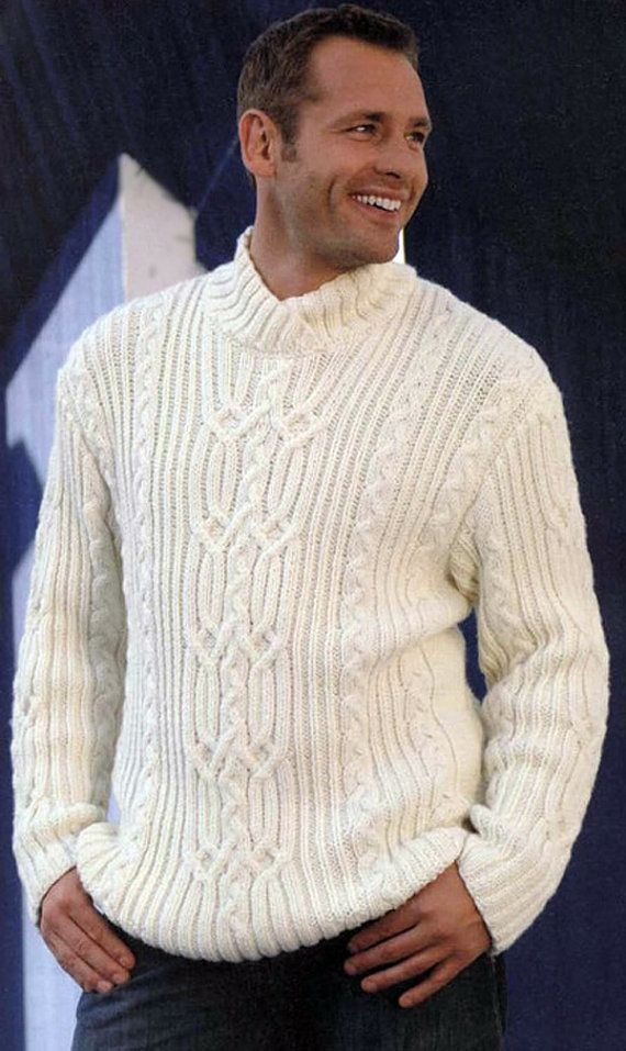 MADE TO ORDER Sweater aran men hand knitted by LuxuryKNITTING2013 ...