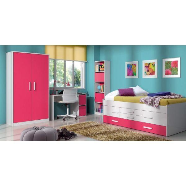 Un dormitorio juvenil decorado con la línea iPink de muebles > Cama ...