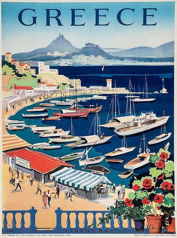 Greece Greek Island Isle Isles Athen's Bay Europe European Vintage Travel Advertisement Art Wall Decor Poster Print. 10 x 13.5 inches
