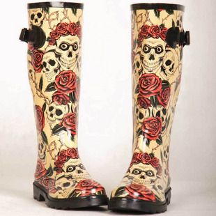 New hot sale 2012 fashion rose skull rain boots rainboots water ...