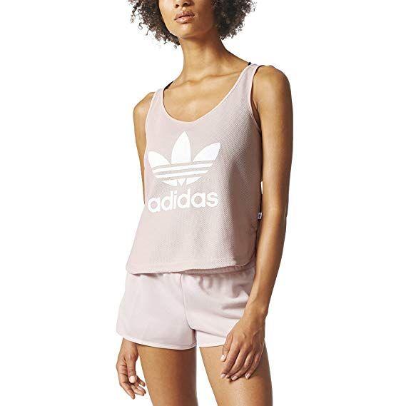 6bd6a8369 adidas Originals Women's Tops Loose Crop Tank, Icey Pink, Medium at Amazon  Women's Clothing store: