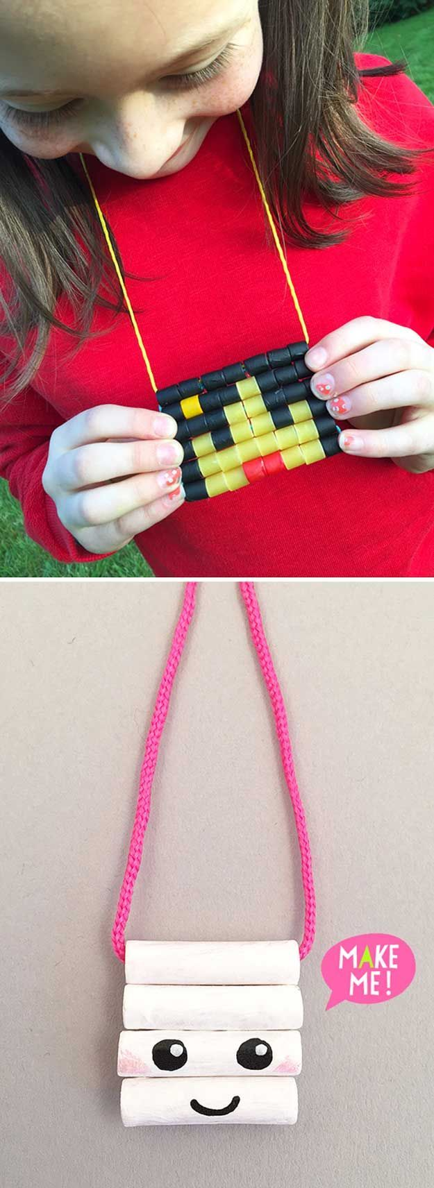 Cheap jewelry projects for girls macaroni necklace homemade painted macaroni necklaces 22 cheap diy jewelry projects for girls cute and beautiful handmade solutioingenieria Images