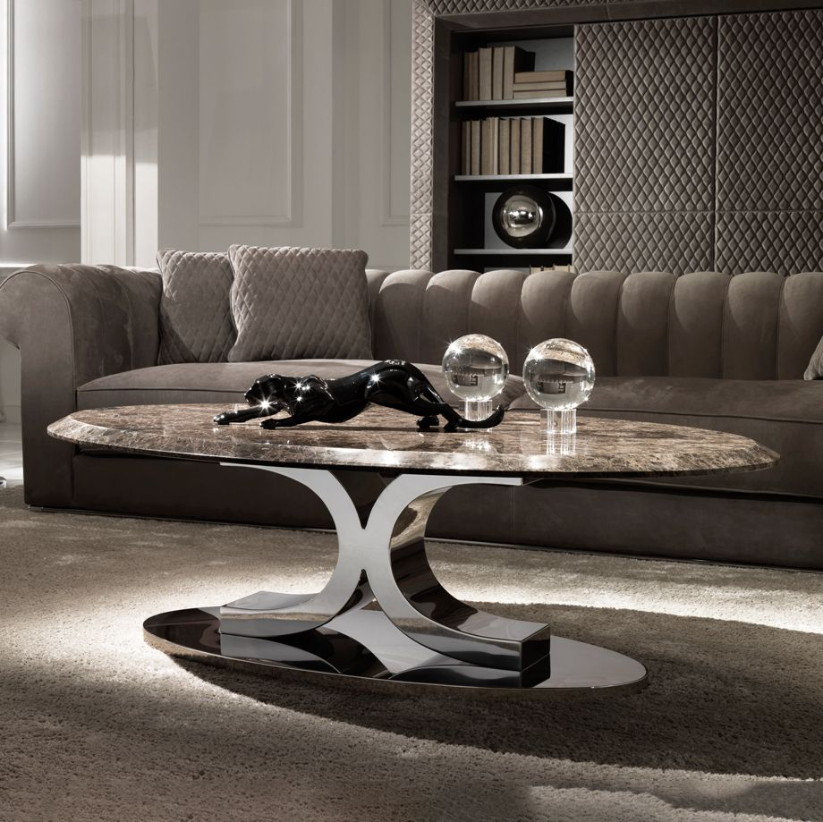 Luxury Contemporary Italian Oval Marble Coffee Table Center