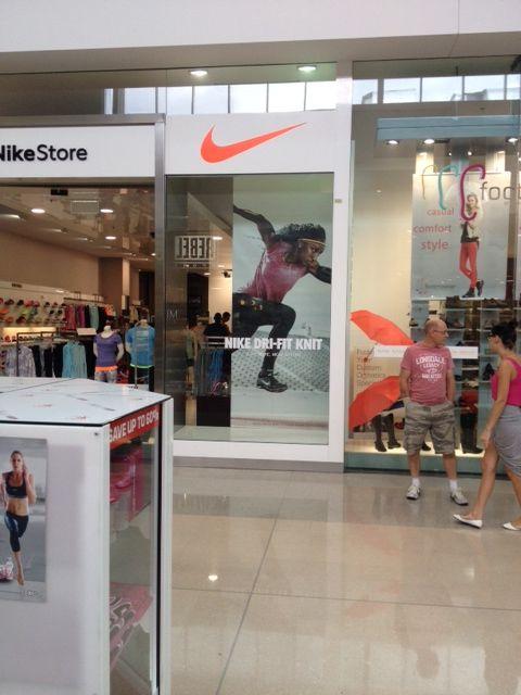 Nike Dri Fit Knit window display. Nike Factory Store retail