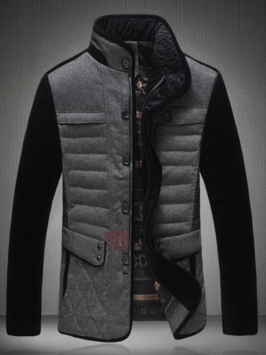 #TideBuy - #TideBuy Stand Collar Patchwork Color Block Thicken Mens Winter Coat - AdoreWe.com