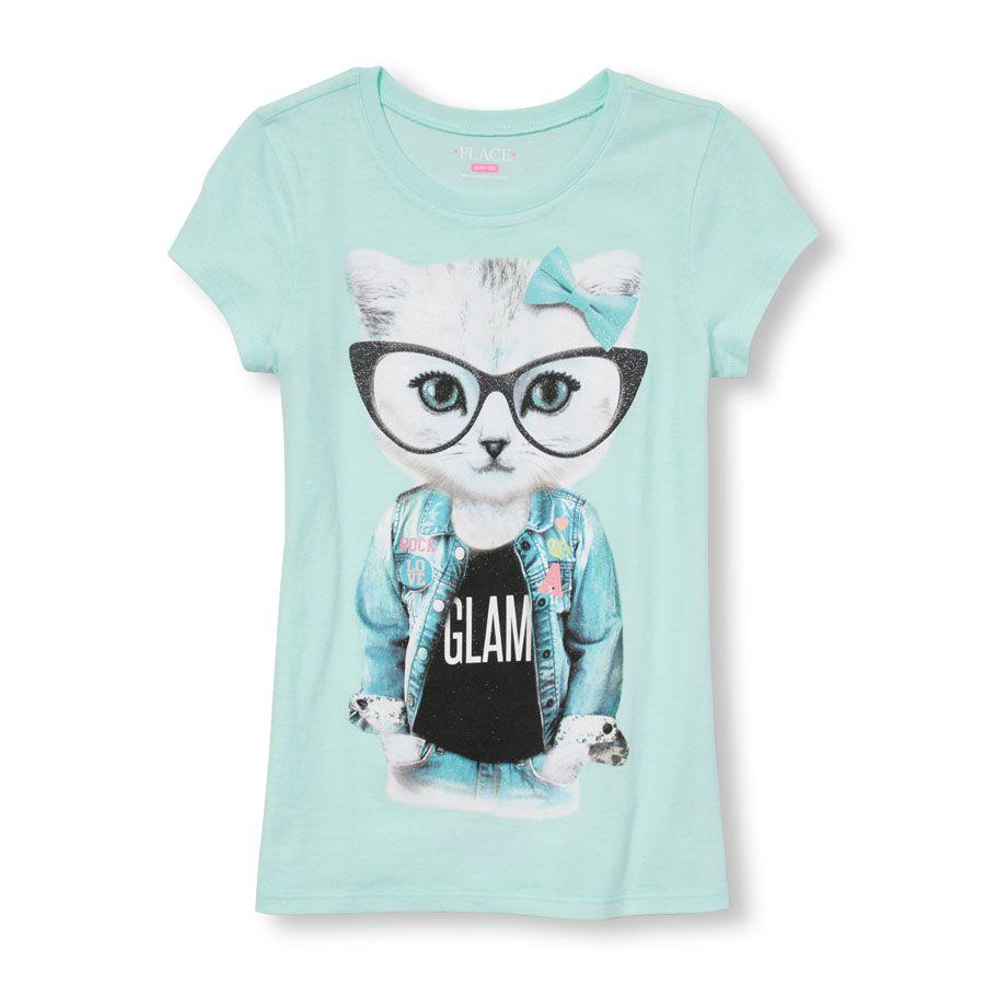 Girls Short Sleeve Glasses Glam Cat Graphic Tee