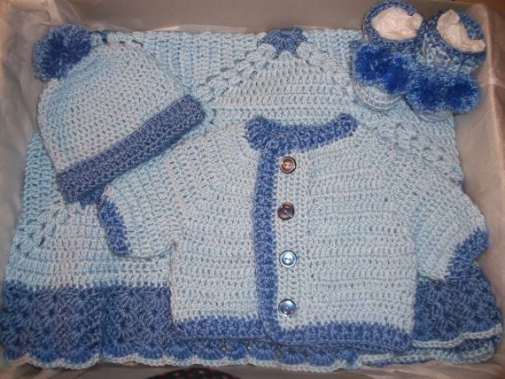 Photo of Crochet Baby Boy Blue Sweater, Pom-Pom Hat and Boooties Layette and Blanket Set Perfect for Baby Shower Gift  and Take Me Home Set