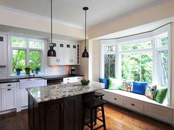 Kitchen Design With Two Windows Window Seat Kitchen Kitchen Bay Window Kitchen Design