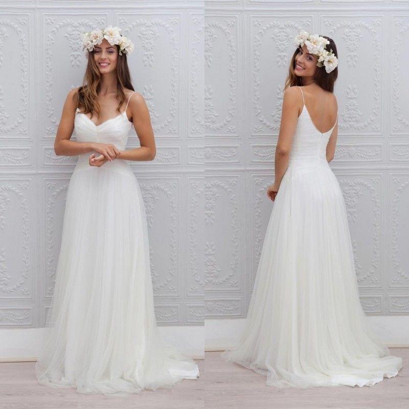 Greek Style Boho Bohemian Wedding Dresses Spaghetti Straps: Fashionable-2015-New-Style-Boho-Wedding-Dress-A-Line