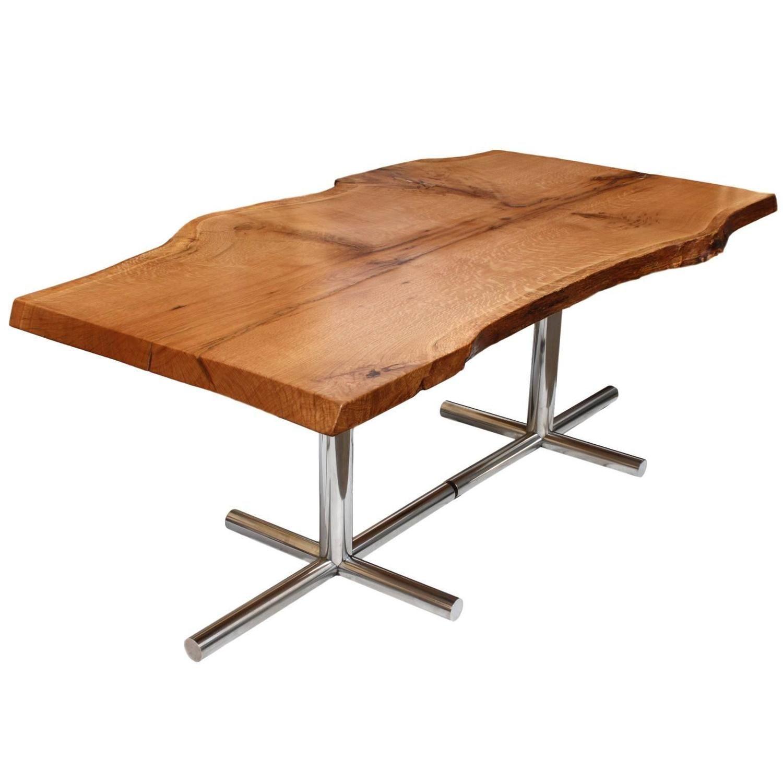 Solid liveedge oak dining table with vintage midcentury modern