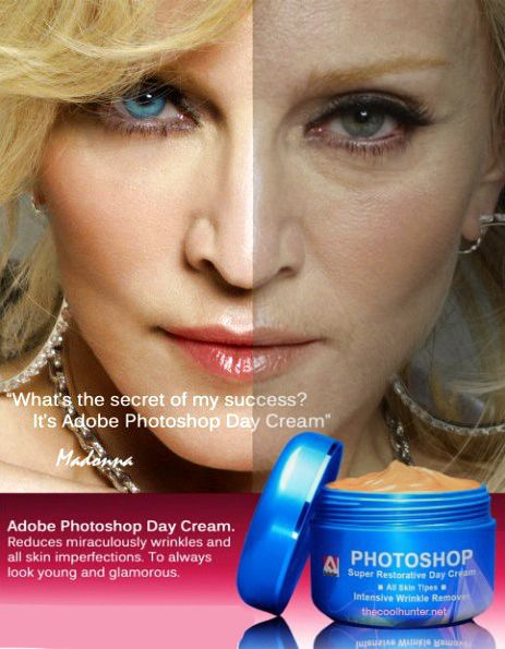 disgusting :l and not the way she looks prephotoshop, but what they do to her to sell a product. this is what poisions the mind of women day in and day out CREAM FOR YOUR FACE WILL NOT GET RID OF WRINKELS!!!! They will come, and there's nothing you can do about it! Drink plenty of water, get good sleep, don't smoke and exercise, these things can minimize the effect, and that's it...MINIMIZE THE EFFECT of aging.
