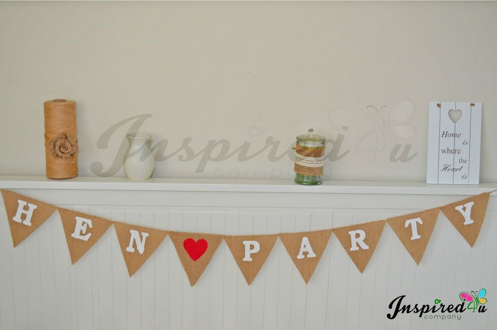 Hen ❤️ Party Bride To Be Wedding Hessian Bunting Burlap Banner Purple Pink Heart