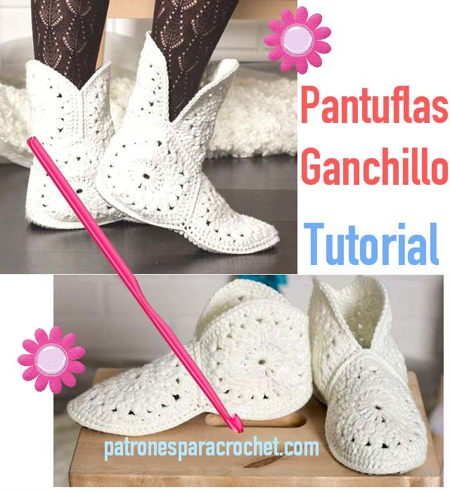 tutorial pantuflas crochet | Crochet | Pinterest | Zapatillas ...