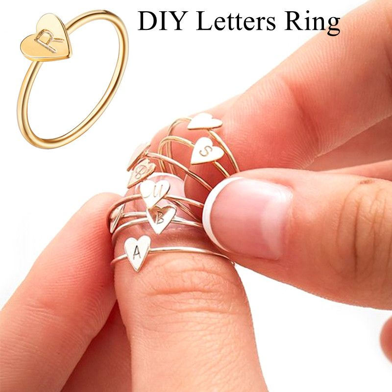 Gift for girlfriend 26 letters gold color name rings for