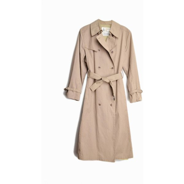 sale! 50% off Vintage Tan Trench Coat Double Breasted Trench Coat Rain... ($36) ❤ liked on Polyvore featuring outerwear, coats, tan trench coat, tan coat, double-breasted trench coats, trench coat and vintage trench coat
