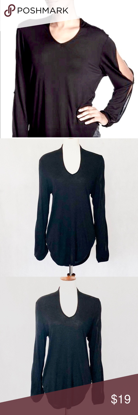 """Haute Hippie Black Split Long Sleeve Knit Top Haute Hippie Split Sleeve Knit Top. Simple yet adorable top, v-neck with small Ruched detail at the back of the neck, long sleeves with 2 button split detail, shirttail hemline. Fabric is 100% modal, measurements are 29"""" long, 19"""" armpit to armpit. Preowned, fabric has softened from wash, consistent with model fabric, two tiny pinholes near front bottom, iron on tape has been applied so pinholes do not show. Price will reflect condition.  G0705 Haute"""