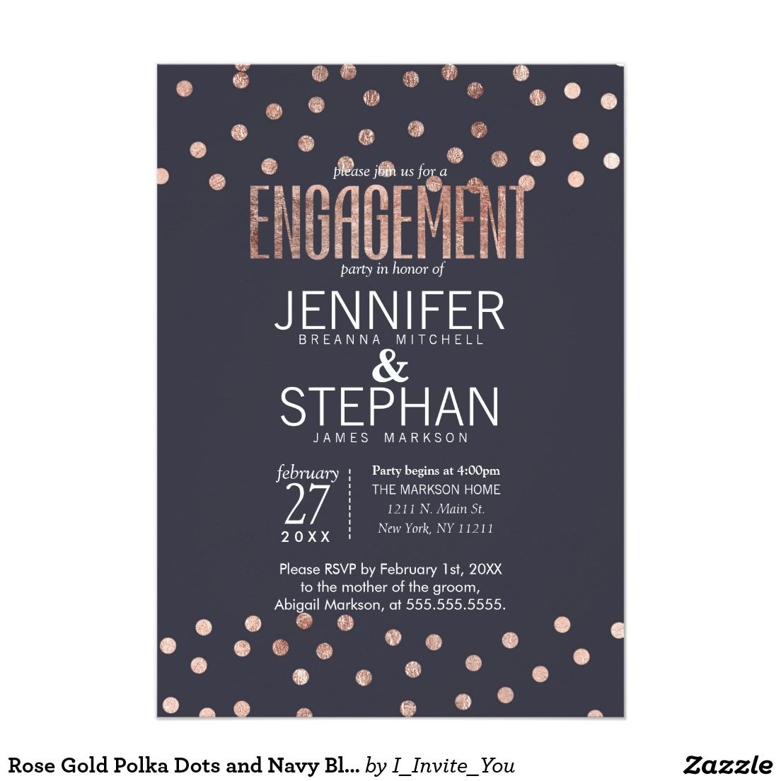 Rose Gold Polka Dots and Navy Blue Engagement