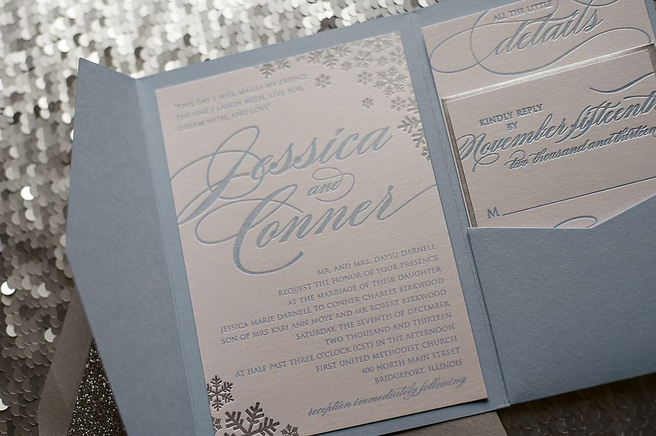 how to address wedding invites%0A Sparkly Snowflake Wedding Invitation  winter wedding invitations   letterpress in pocketfold