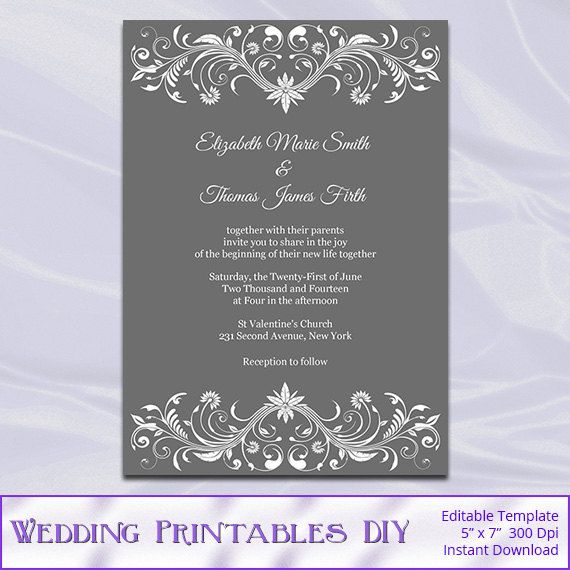 Diy gray and white wedding invitations template comes as an editable