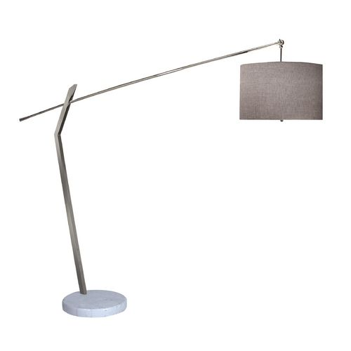 Modern Floor Lamp French Drum Shade, Trend Lighting Modern Arc Floor Lamp with Grey Drum Shade