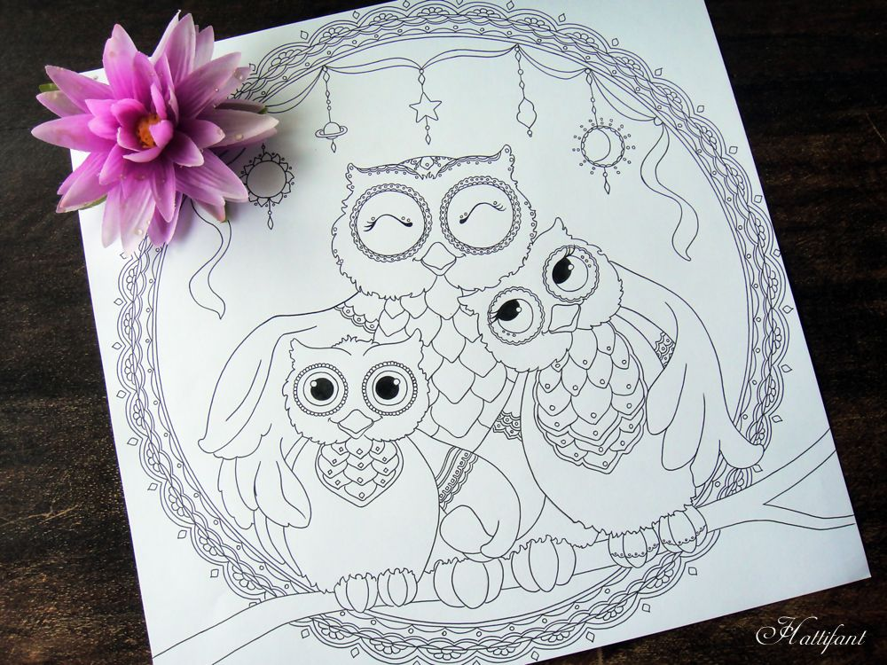 Hattifant\'s Owl Family Love Coloring Page | Adult Coloring Pages ...