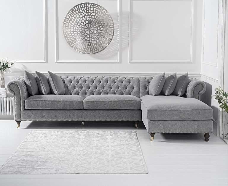 Flora Grey Linen Right Facing Chesterfield Chaise Sofa In 2020 Corner Sofa Living Room Sofa Design Chesterfield Living Room