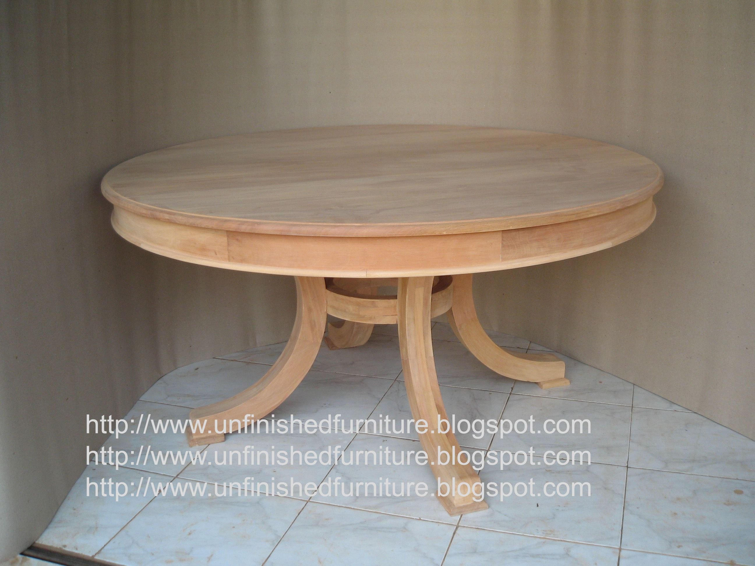 Unfinished Mahogany Furniture 4 Leg Curve Solid Round Dining Table Made Of Fine Solid Kiln Dry Italian Style Furniture French Style Furniture Raw Furniture Unfinished round dining tables