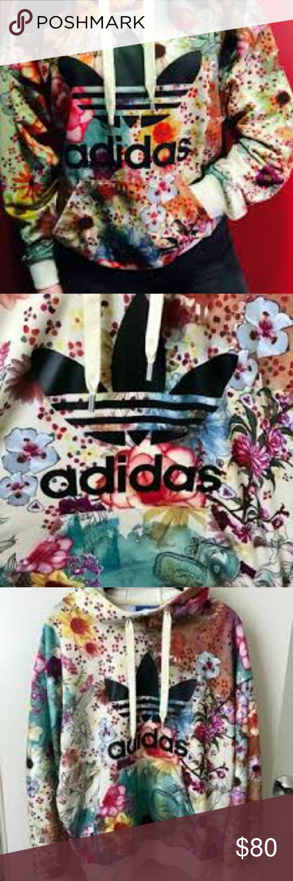 1bb8e2582758 RARE Original Adidas Farm Confete Hoodie This Trefoil Hoodie features a  dreamy floral print inspired by