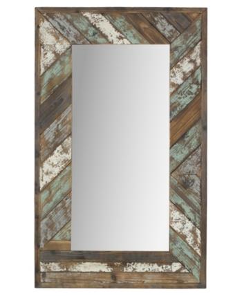 Aspire Home Accents Brogan Distressed Wood Slat Wall Mirror