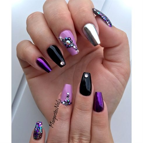 Black And Purple Coffin Nails By Margaritasnailz From Nail Art Gallery Black Nail Designs Black And Purple Nails Purple Nail Designs