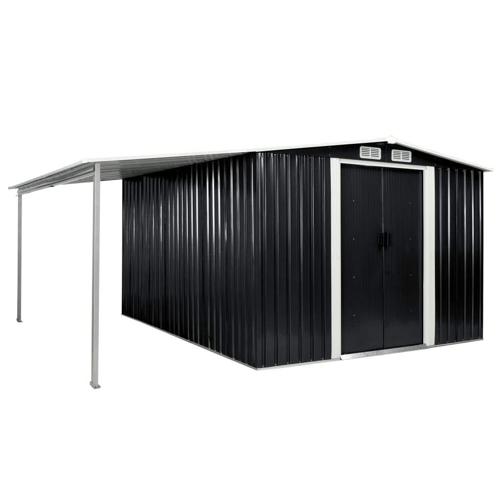Garden Shed with Sliding Doors Anthracite 386x312x178 cm Ste…