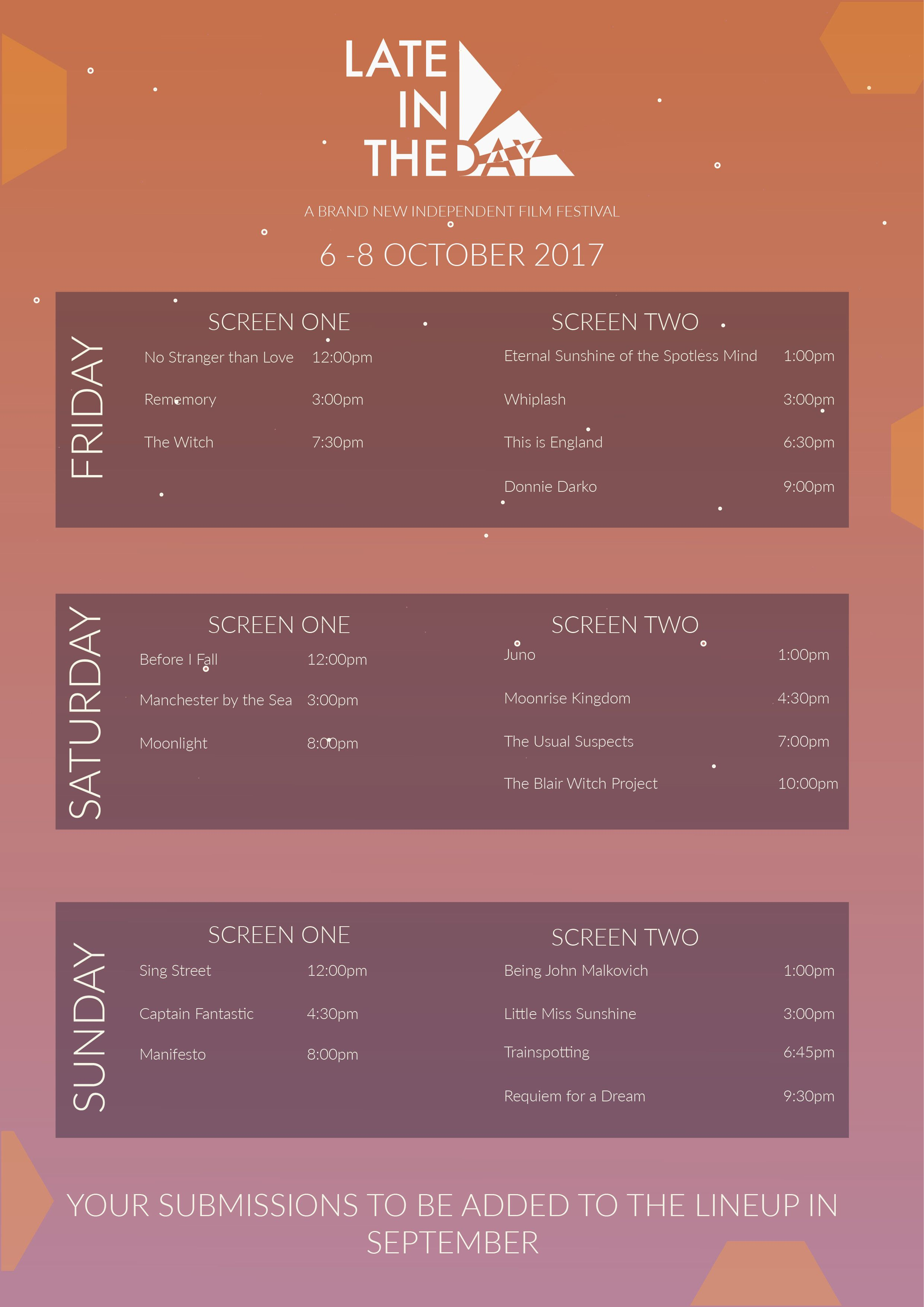 Late In The Day Schedule Poster For Fictitious Film Festival Schedule Design Layout Schedule Design Event Schedule Design