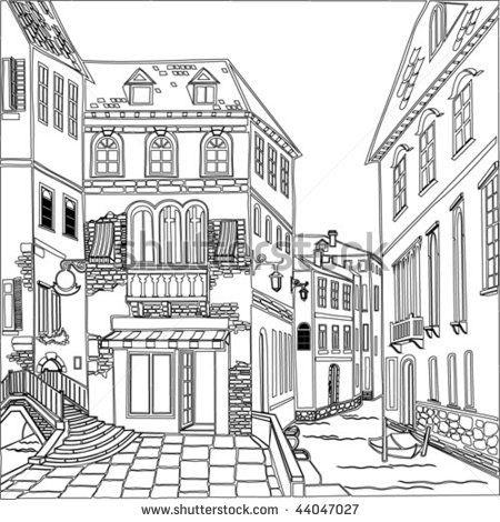 old town coloring page | Silk Painting | Pinterest | Adult ...
