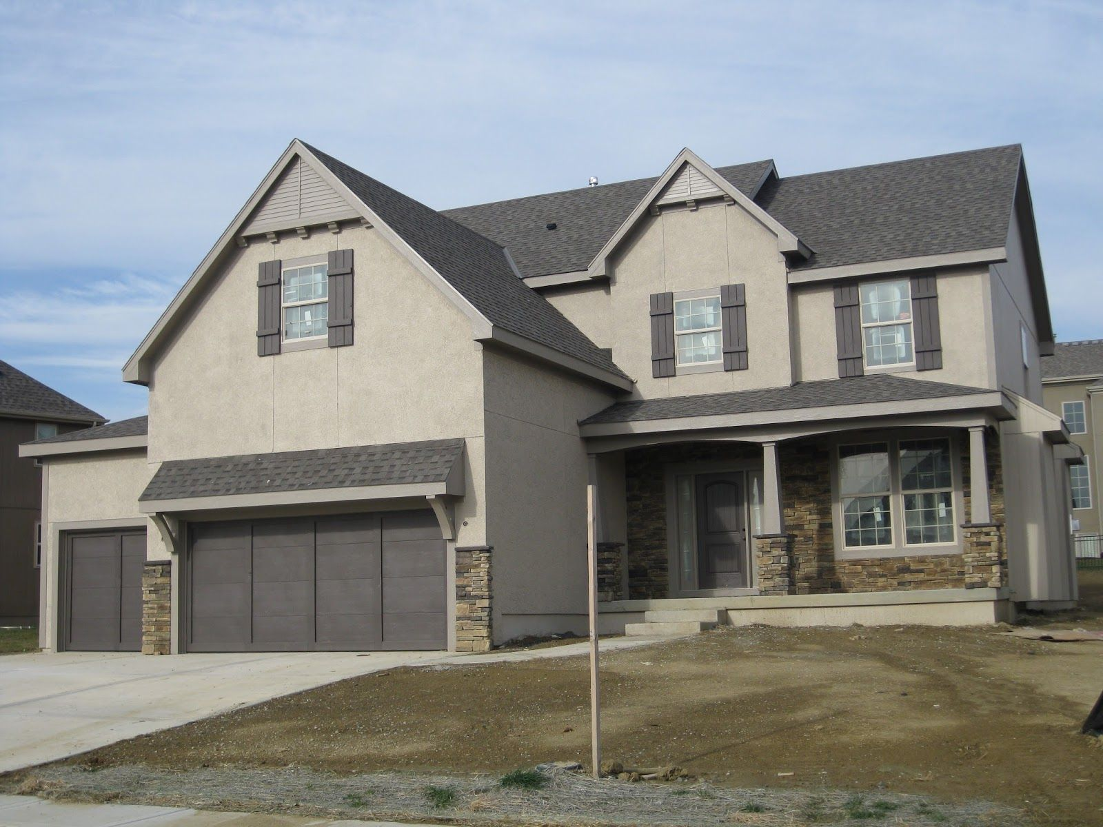 Exterior paint schemes for brown roofs - Apartments Interesting Home Exterior Color With Cream Wall