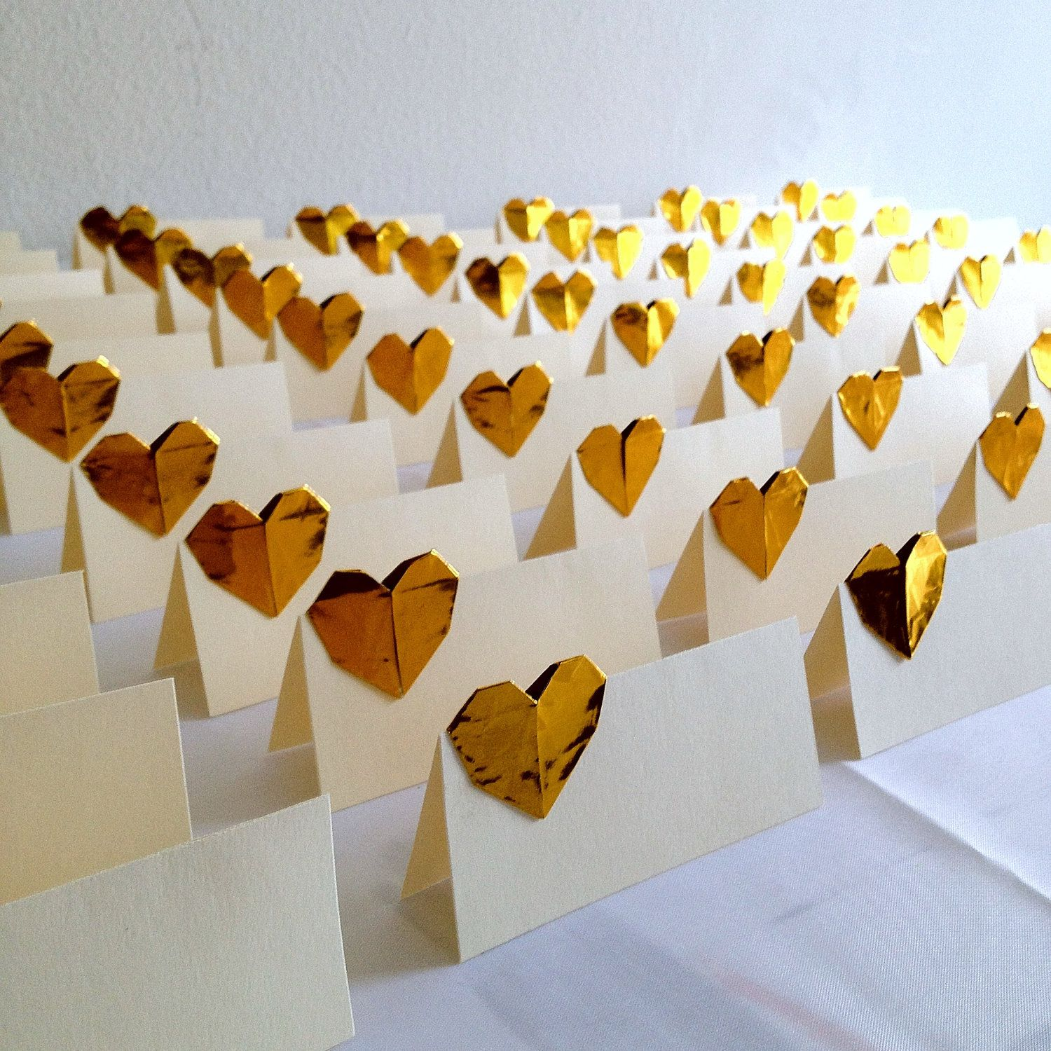 wedding place cards origami hearts gold escort cards set
