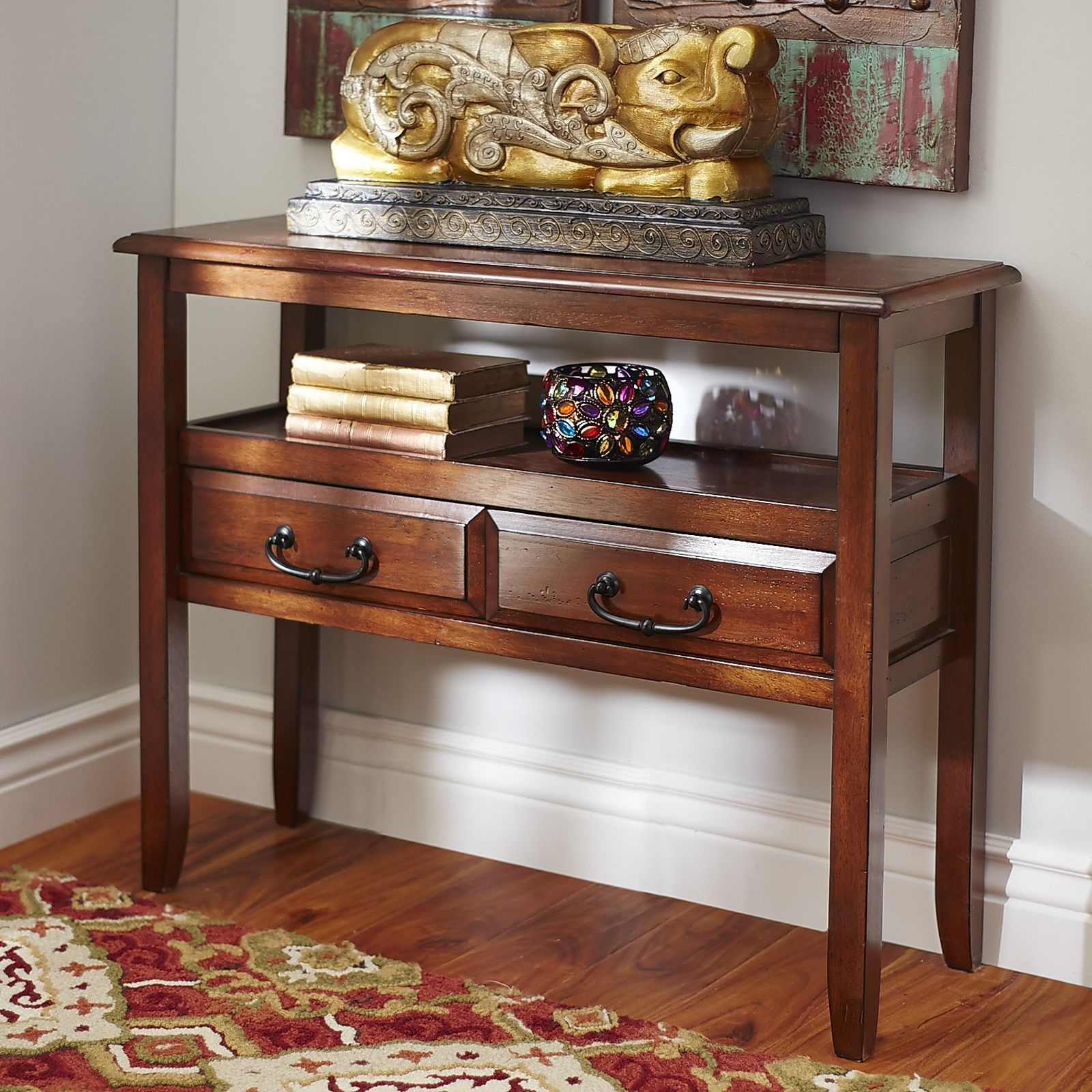 Anywhere Tuscan Brown Console Table with Pull Handles   Ogee edge ...