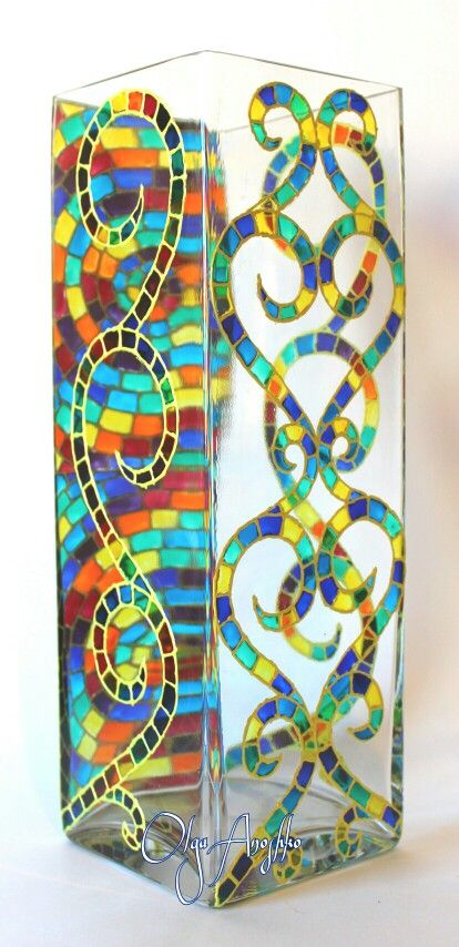 Mosaic Colors Rainbow Vase, Stained Glass Mosaic, Modern Vase, Ombre Decor